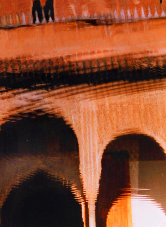 Alhambra, arches, water
