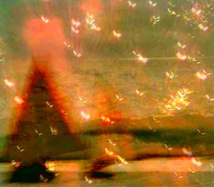 Red sail, butterfly sparks overlaid