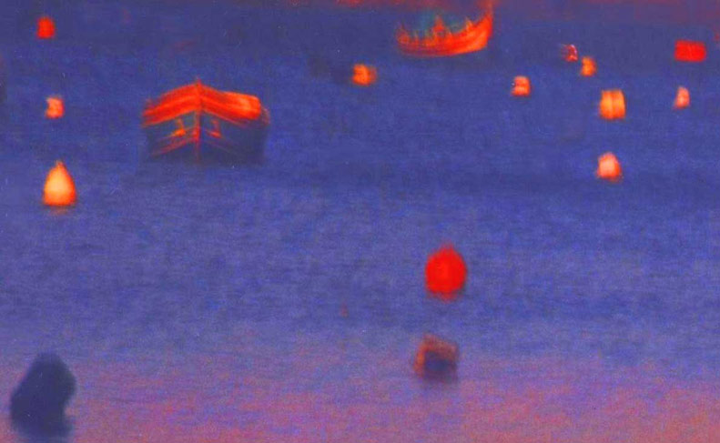 Red shapes, dark blue sea