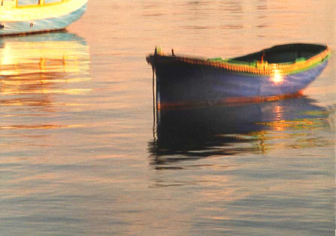 Blue boat, evening